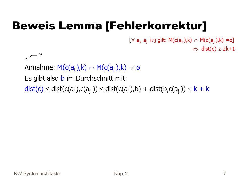 Beweis Lemma [Fehlerkorrektur]